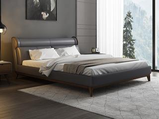 皮坊工艺 现代简约 仿真皮 灰色1.8*2.0米床