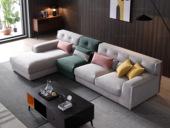 芬洛 现代简约 进口樟子松坚固框架 超柔压花 沙发组合(1+2+右贵妃)