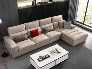 芬洛 现代简约 进口樟子松坚固框架 科技布 羽绒+乳胶 321B沙发组合(1+2+左贵妃)