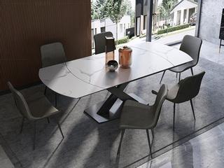 极简风格 多功能餐桌 旋转变形餐桌