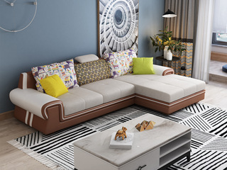 纳德威 现代休闲 时尚皮布组合沙发 可调节升降头枕功能 易清洁框架仿皮 拆洗坐包 靠包 棕色皮布沙发组合(3+左贵妃)