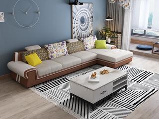 纳德威 现代休闲 时尚皮布组合沙发 可调节升降头枕功能 易清洁框架仿皮 拆洗坐包 靠包 棕色皮布沙发组合(1+3+左贵妃)