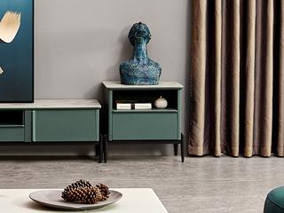 纳德威 极简风格 苹果绿柜体配面玻 斗柜