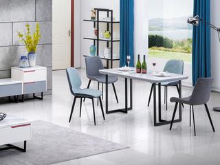 现代简约 碳素钢脚+PU皮 Y352 灰色餐椅