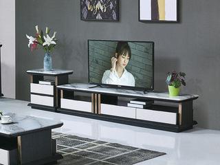 现代简约 石面 整装象牙白色+黑檀色D901地柜(不含边柜)