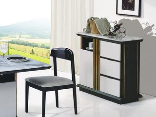 现代简约 石面 整装象牙白色+黑檀色B901餐边柜