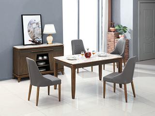 现代简约 木纹钢化玻璃面 哑光太空灰色+黑胡桃色T915餐台