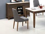 悦莱家居 现代简约 进口橡胶木+PU皮 太空灰皮+木脚胡桃色Y915餐椅