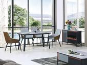 悦莱家居 现代简约 防刮工艺玻璃面黑檀色T981餐台