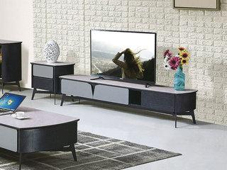 现代简约 防刮钢化玻璃面 浅灰色+黑檀色D982地柜(不含边柜)