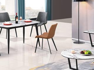 极简 碳素钢脚+PU皮 Y352 灰色餐椅