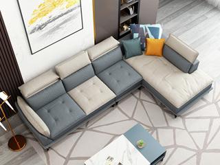 纾康 极简风格 科技布面料 乳胶颗粒 双色沙发组合(1+2+左贵妃)