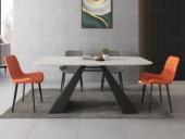 米勒 极简风格 意大利进口岩板N01#黑白色A型 1.4米餐桌