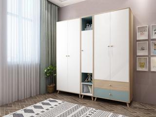 双虎家私 北欧风格 小户型经典时尚 立柜衣柜组合(两门+两抽+单门)