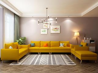 北欧风格 小户型经典时尚 沙发G(黄)沙发组合(单人位+双人位+活动脚踏+单扶手1人位+无扶手1人位+单扶手3人位)