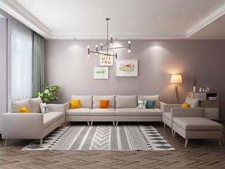 北欧风格 小户型经典时尚 沙发G(米白)沙发组合(单人位+双人位+活动脚踏+单扶手1人位+无扶手1人位+单扶手3人位)