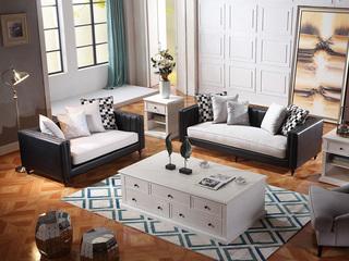 巴米尔 轻奢890沙发组合皮布沙发 纳帕皮+进口棉麻布皮艺 沙发组合(2+3)