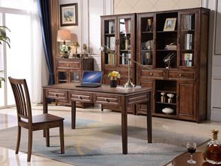 美式风格 泰国进口橡胶木 浅咖色 三门书柜