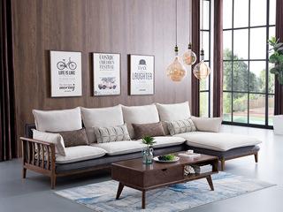 源木时光 北欧风格 北美进口白蜡木 布艺沙发 转角沙发(1+3+左贵妃)