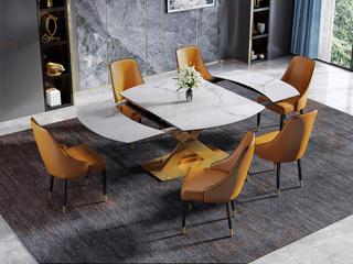 慕梵希 轻奢风格 多功能餐桌 旋转变形餐桌
