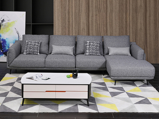 现代简约布艺沙发小户型 可拆洗沙发组合(3右+1.5左+1.5无+脚凳)