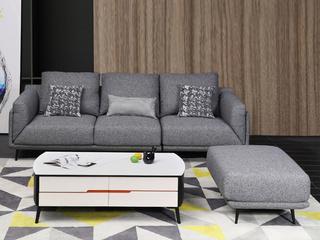 现代简约布艺沙发小户型 可拆洗沙发组合(3右+1.5左+脚凳)