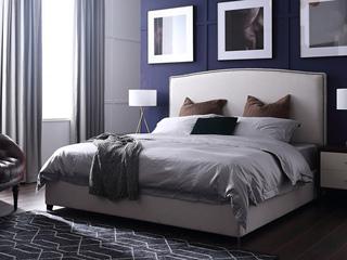 轻奢风格 不锈钢镀钛金 高弹海绵 高档棉麻布1.8*2.0米床
