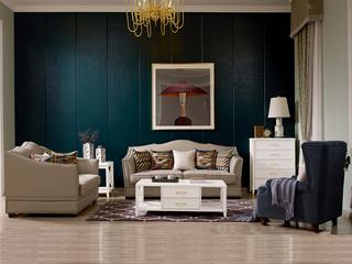 宏宇家私 美式乡村 舒适透气型皮布 小户优选型 全实木框架 质朴自然 沙发组合(1+2+3)
