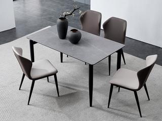 洛林菲勒 极简风格 碳素钢脚 浅灰 餐椅(2把起售,不单卖)