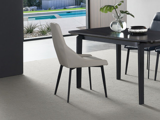 洛林菲勒 极简风格 碳素钢脚 科技布 灰色 餐椅(2把起售,不单卖)