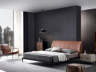 极简风格 黄牛皮 碳素钢 实木排骨架 1.8*2.0米床