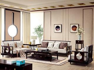 墨舍 新中式 东南亚进口红檀木 高精密提花面料 K902 沙发组合(1+2+3)