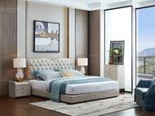 家百利 简欧风格 优质真皮皮艺 排骨架双人床 1.8米床