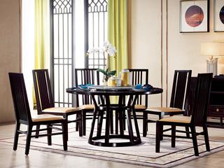 墨舍 新中式 东南亚进口红檀木 天然大理石(转盘)C951 圆餐台 1.35米餐桌