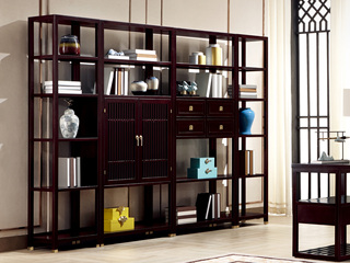 新中式 东南亚进口红檀木 S966 书柜组合(带门书柜+带抽屉书柜+2*陈列架)