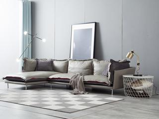 轶致家私 极简风格 铁架 全羽绒填充物 皮布结合 仿真皮 转角沙发(1+3+右贵妃)
