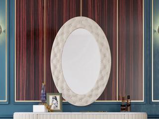 轻奢风格 优质超纤皮 优质实木 加厚玻璃镜 镜子