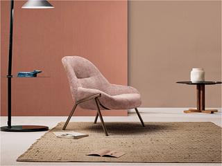 卡伦斯特 轻奢风格 高级灯芯绒 咖啡金铁脚休闲椅