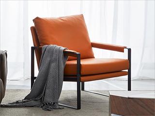 卡伦斯特 轻奢风格 优质超纤皮 喷砂碳钢架+公仔棉+羽绒休闲椅