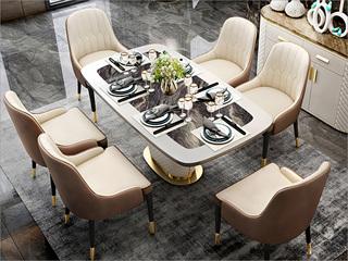 卡伦斯特 轻奢风格 水墨年华拼花石 优质环保皮 不锈钢拉丝封釉镀钛金 1.6m餐桌