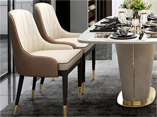 卡伦斯特 轻奢风格 优质环保皮 进口优质实木 不锈钢拉丝封釉镀钛金 餐椅(2把起售,不单卖)