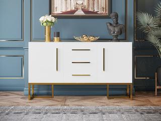轻奢风格 环保烤漆 不锈钢拉丝封釉镀钛金 餐边柜