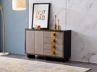 轻奢风格 钢化玻璃 实木抽屉 抽面贴木皮+实木脚1.2米餐边柜