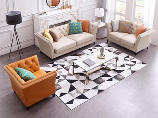 轻奢风格 优质超纤皮 实木框架 组合沙发(1+2+3)