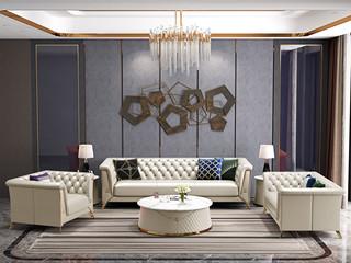 轻奢风格 进口实木 优质超纤皮 深点拉扣+不锈钢拉丝封釉镀钛金 组合沙发(1+2+3)