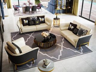 轻奢风格 进口实木 优质超纤皮 不锈钢拉丝封釉镀钛金 组合沙发(1+2+3)