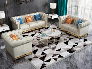 轻奢风格 高档棉麻布 不锈钢拉丝封釉镀钛金 组合沙发(1+2+3)