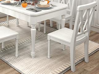 梓华轩 简美风格 泰国进口橡胶木 全实木 象牙白餐椅