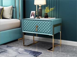实木抽屉 不锈钢拉丝封釉镀钛金 薄荷绿 床头柜