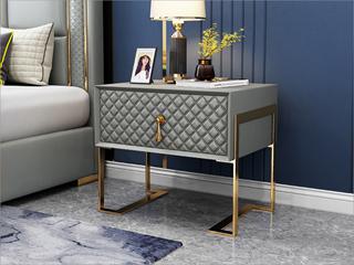 实木抽屉 不锈钢拉丝封釉镀钛金 高级灰 床头柜